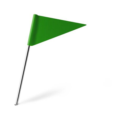 distant spot: Green Triangle Flag Isolated on White Background. Stock Photo