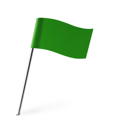 Green Wave Flag Isolated on White Background. photo