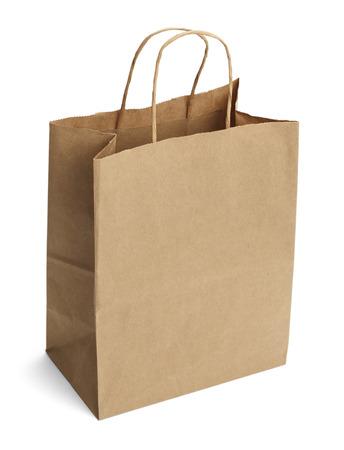 흰색 배경에 고립 된 핸들 브라운 쇼핑 가방.