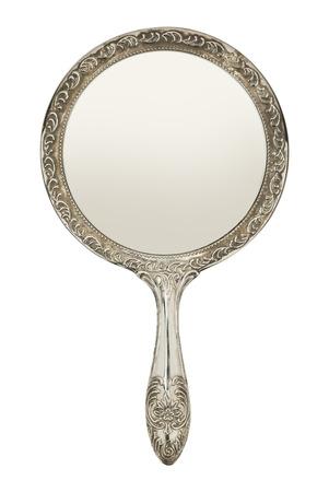 reflexion: Mano de Plata Espejo Vista frontal aisladas sobre fondo blanco.