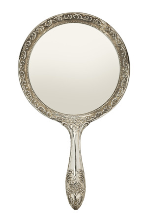on mirrors: Silver Hand Mirror Front View Isolated on White Background. Stock Photo