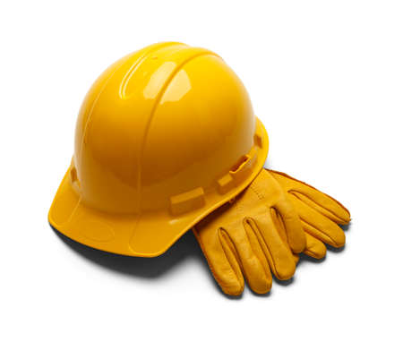 home addition: Construction Helemt and Leather Work Gloves Isolated on White Background. Stock Photo