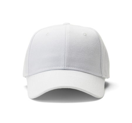 caps: Font View of White Hat Isolated on White Background.