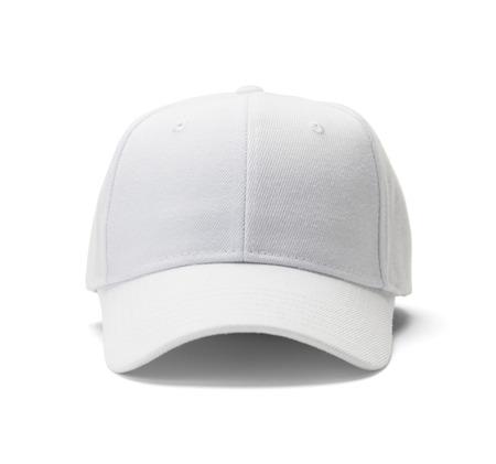 hut: Font View of White Hat Isoliert auf weißem Hintergrund. Lizenzfreie Bilder