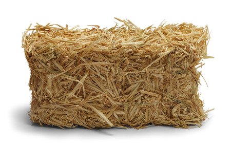Hay Bale Side View Isolated on White Background.