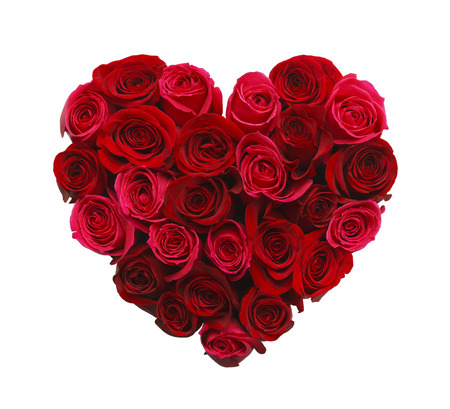 roses petals: Valentines Day Heart Made of Red Roses Isolated on White Background. Stock Photo