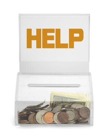 generous: Clear Plastic Help Donation Box With Money Isolated on White Background. Stock Photo