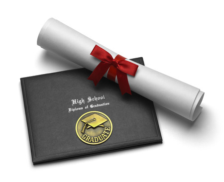 ged: Black Diploma Cover with Rolled Degree Isolated on White Background. Stock Photo