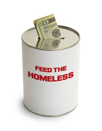 feed the poor: Feed The Homeless Donation Can Isolated on White Background. Stock Photo