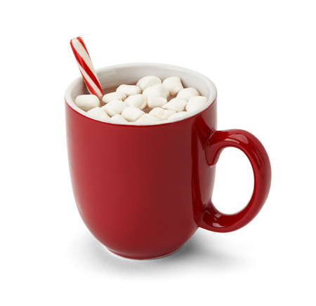 hot chocolate drink: Cocoa in Red Mug with Marshmallows and Candy Cane Isolated on White Background.