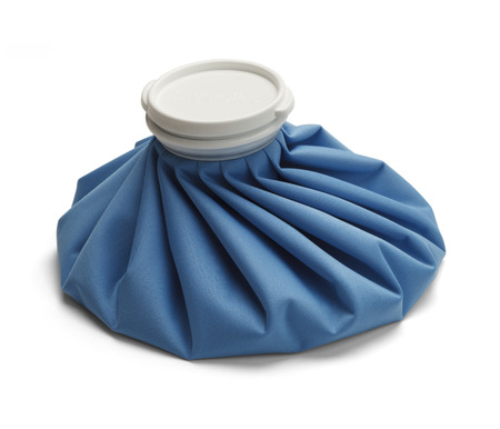 Blue Ice Bag with Cap Isolated on White Background.