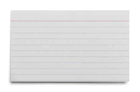 白い背景で隔離の行と空白のホワイト インデックス カード。