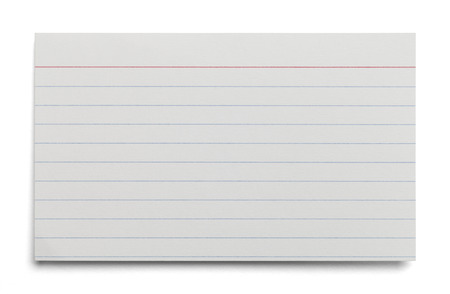 Tarjeta de índice en blanco blanco con líneas aisladas sobre fondo blanco.