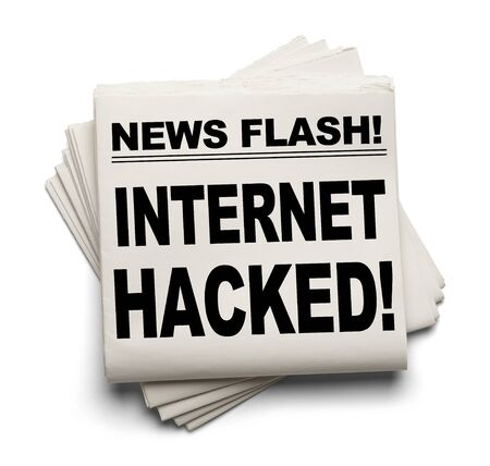 News Flash Internet Hacked News Paper Isolated on White Background.