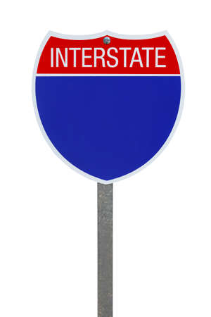 interstate: Blank Blue Interstate Highway Sign Isolated on White Background.
