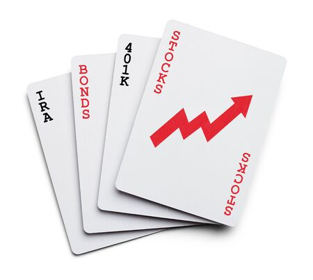 bonds: Playing Cards as Investment portfolio with the words Stocks, Bonds, IRA Isolated on White Background.