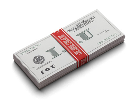 overburdened: Stack Of IOUs as paper curency with a money band that says Debt on it. Isolated on a white background. Stock Photo