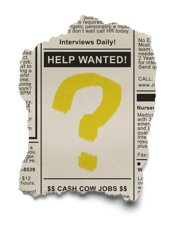 help: Help Wanted Job Search with Question Mark on torn Newspaper Ad Isolated on White Background.