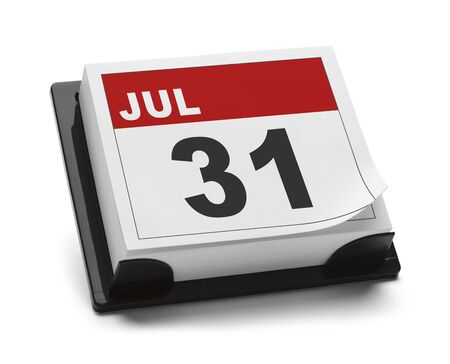 31: Last Day of July Calendar Isolated on White Background. Stock Photo