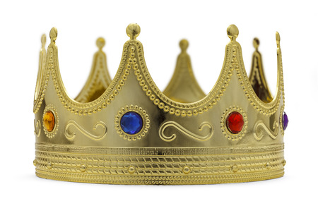 gold crown: Gold Crown With Jewels Isoalted on White Background.