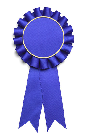 Modrý Award stuha s kopií prostor izolovaných na bílém pozadí.