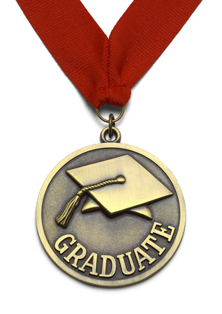 morter: Gold Graduate Medal with Red Ribbon Isolated on White Background.