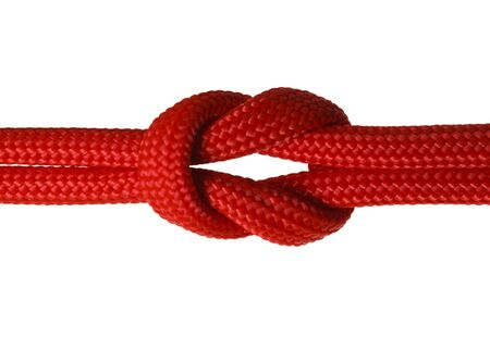 Red Rope Cord in a Knot Isolated on White Background.