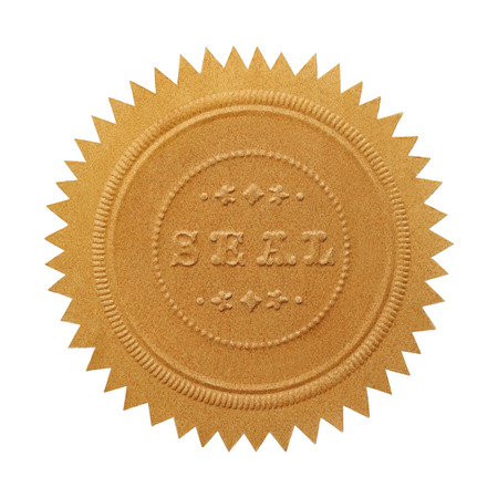 seal stamper: Large Embossed Gold Seal With Copy Space Isolated on White Background.