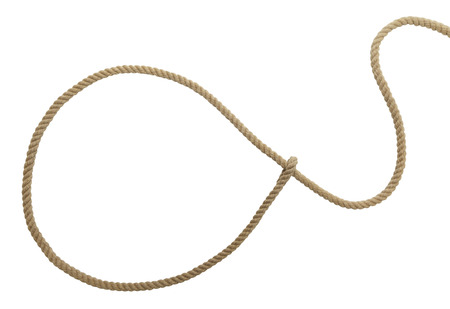 Brown Western Cowboy Lasso Rope Isolated on White Background.