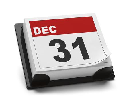 31st: December 31st Calendar Isolated on White Background.