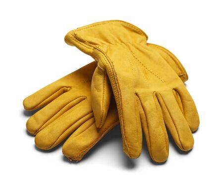 empleadas domesticas: Guantes Amarillo trabajo de construcción aisladas sobre fondo blanco.
