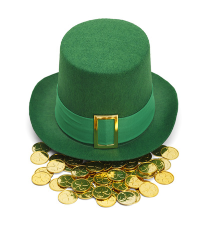 saint pattys: Green St. Patricks Day Felt Top Hat With Gold Buckle and Gold Coins Isolated on White Background.