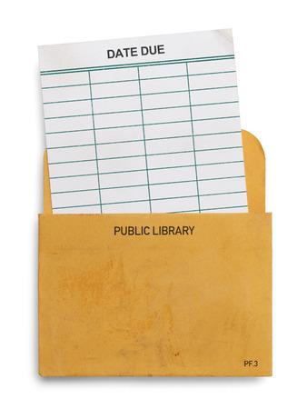 library: Blank Book Library Hora de salida de tarjeta aisladas sobre fondo blanco.