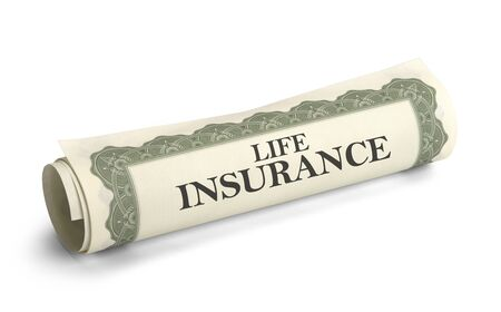 Papers of Life Insurance Rolled Up and Isolated on White Background.