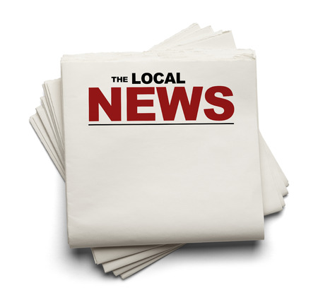 Stack of Blank Local News Papers Isolated on White Background.