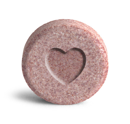 methamphetamine: Pink Heart Love Potion Medicine Isolated on a White Background.