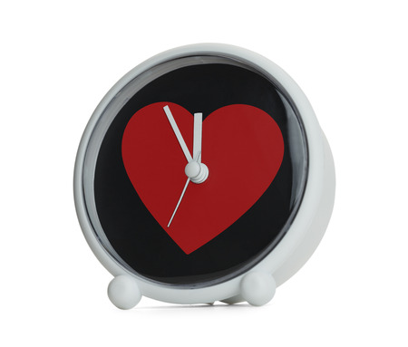 Love take time, Red Heart on Clock Isolated on White Background.