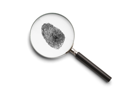 Magnifying Glass with Finger Print Isolated on White Background.