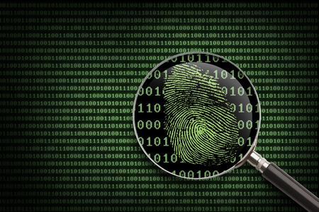 fingerprint: Magnifying Glass searching code for online activity.