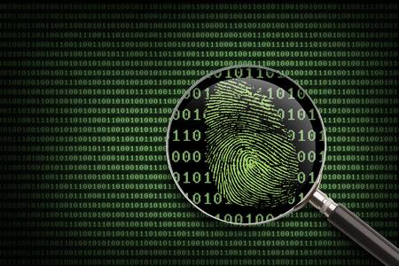 zvětšovací sklo: Zvětšovací sklo vyhledávání kódu pro on-line aktivity. Reklamní fotografie