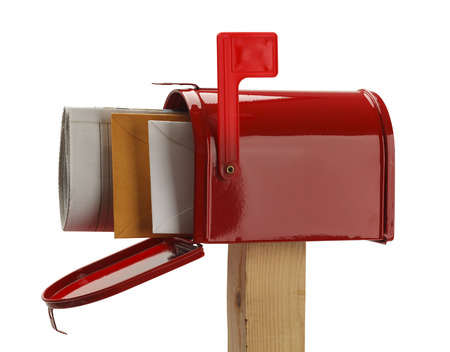 you've got mail: Red Mail Box with Lettes and Newspaper Isolated on White Background.