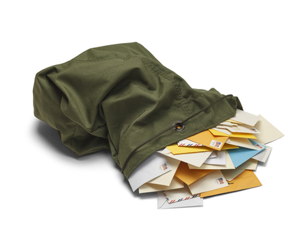 mails: Large Green Mail Bag with Envelopes Spilling Out Isolated on White Background.