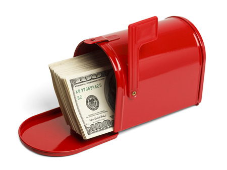usps: Red Mailbox with Money Sticking Out Isolated on White Background.