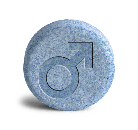 hormone  male: Large Blue Pill With a Male Symbol Isolated on White Background.