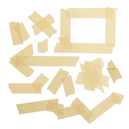 Various ripped pieces of tape combnations isolated on a White Background. photo