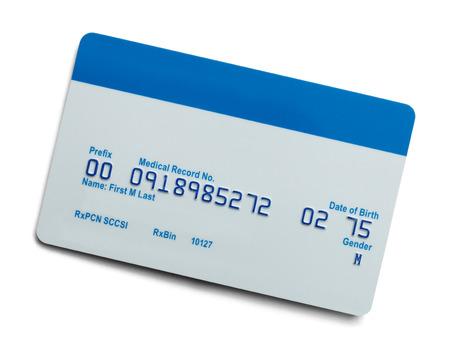 fondo para tarjetas: Cuidado de la Salud en blanco tarjeta de seguro médico aislado en fondo blanco.