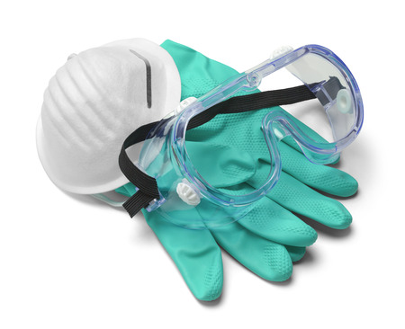 Mask, Gloves and Goggles in Pile Isolated on White Background.
