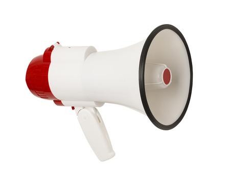 megafono: Rojo y blanco megáfono aislado en el fondo blanco. Foto de archivo