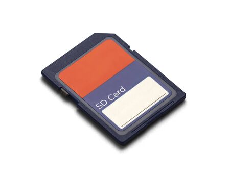 sd: Blue memory card with copyspace isolated on a white background. Stock Photo