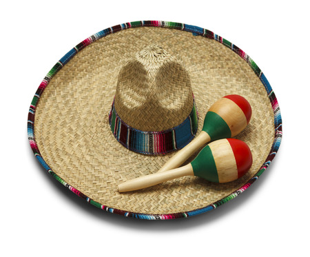 Fiesta Hat with Maracas Isolated on White Background. Stock Photo